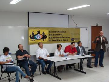 Terezinha Aguiar(CNTSS), Sandro e Alexandre Barreto durante o Encontro Nacional