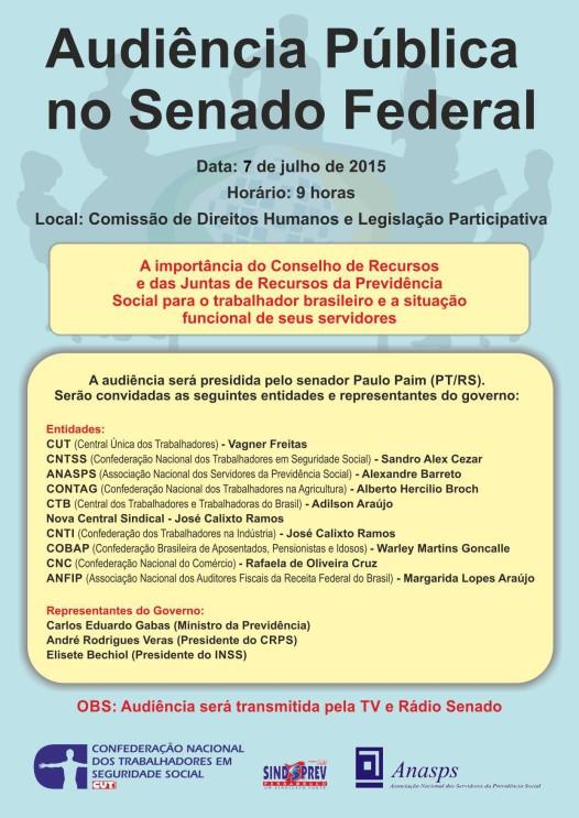 Cartaz  - Audiência Pública no Senado Federal, dia 07.07.2015